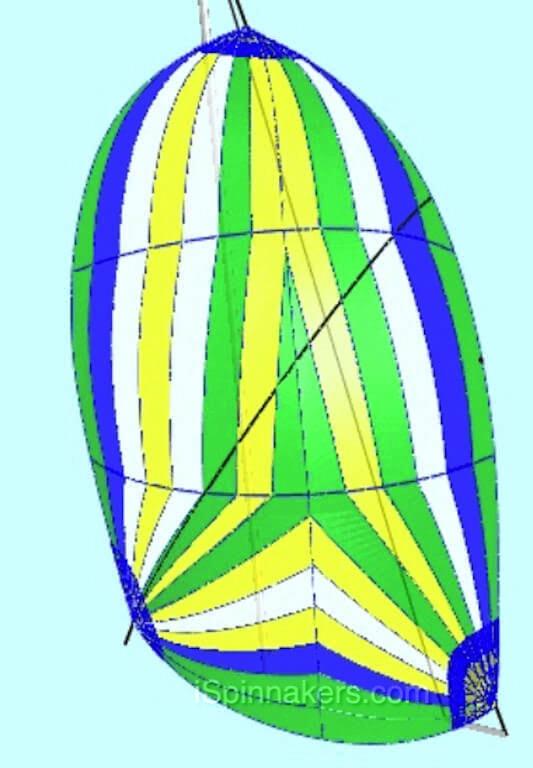 Beneteau 311 exemple de couleurs personnalisées jaune bleu vert blanc sur spinnaker asymétrique