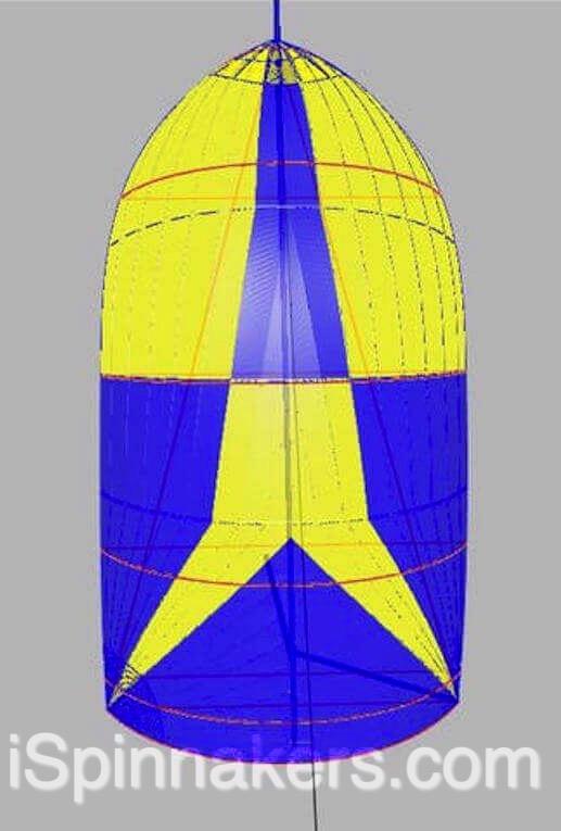Jeanneau Sun Rise 34 exemple de couleurs personnalisées jaune bleu sur spinnaker symétrique