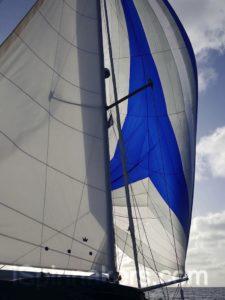 Spinnaker asymétrique Beneteau Oceanis 44 bleu blanc (3)