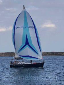 spinnaker asymétrique bleu et blanc logo sur Beneteau Oceanis 473