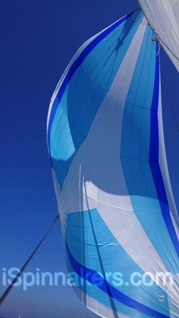 spinnaker asymétrique bleu et blanc sur Beneteau First 310